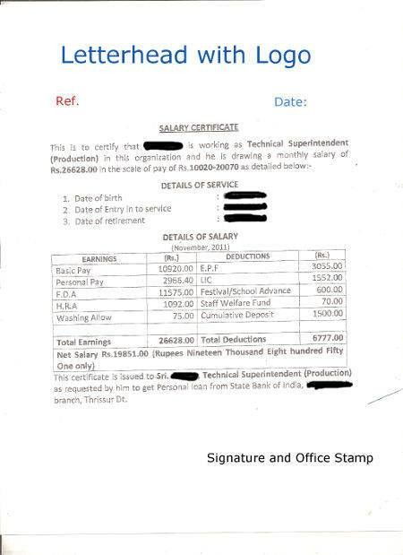 Format of Salary Certificate and Sample Salary Certificate For ...
