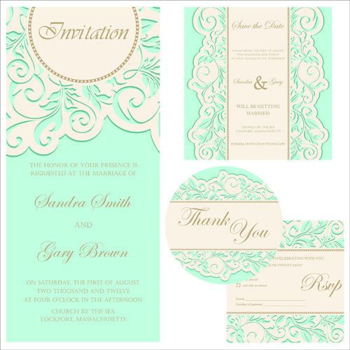 Retro wedding invitation cards design 01 - Vector Card free download