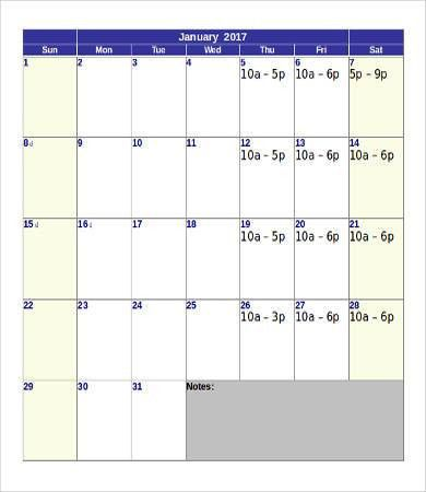 Printable Calendar Template - 10+ Free Word, PDF Documents ...