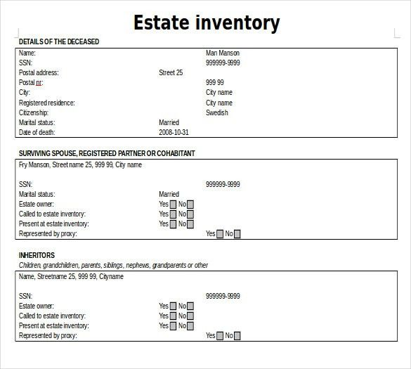 Estate Inventory Template – 12+ Free Word, Excel, PDF Documents ...
