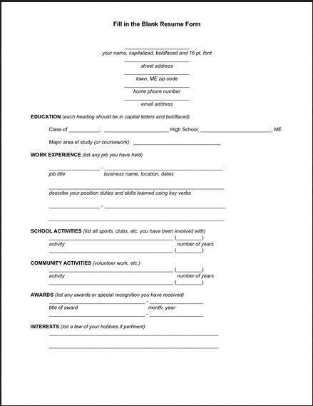 Basic Resume Form to Printable - http://topresume.info/basic ...