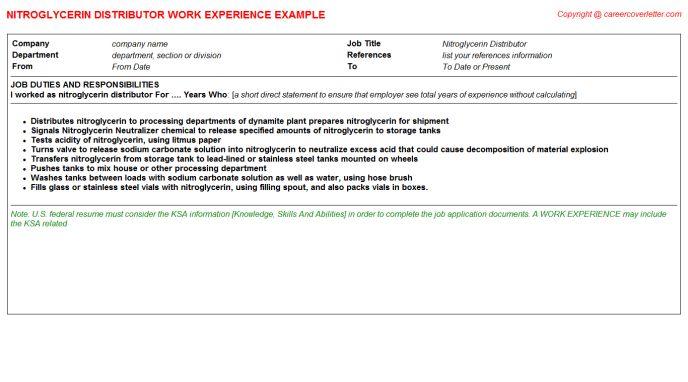 Nitroglycerin Distributor Job Title Docs