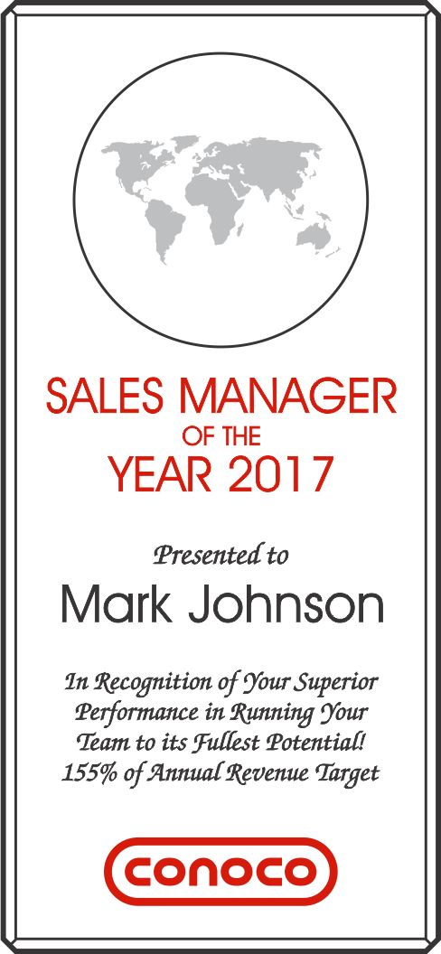 Sales Manager of the Year Award (#027-2) | Wording Ideas | DIY Awards