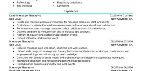 Massage Therapist Job Description Resume Resume Examples for ...