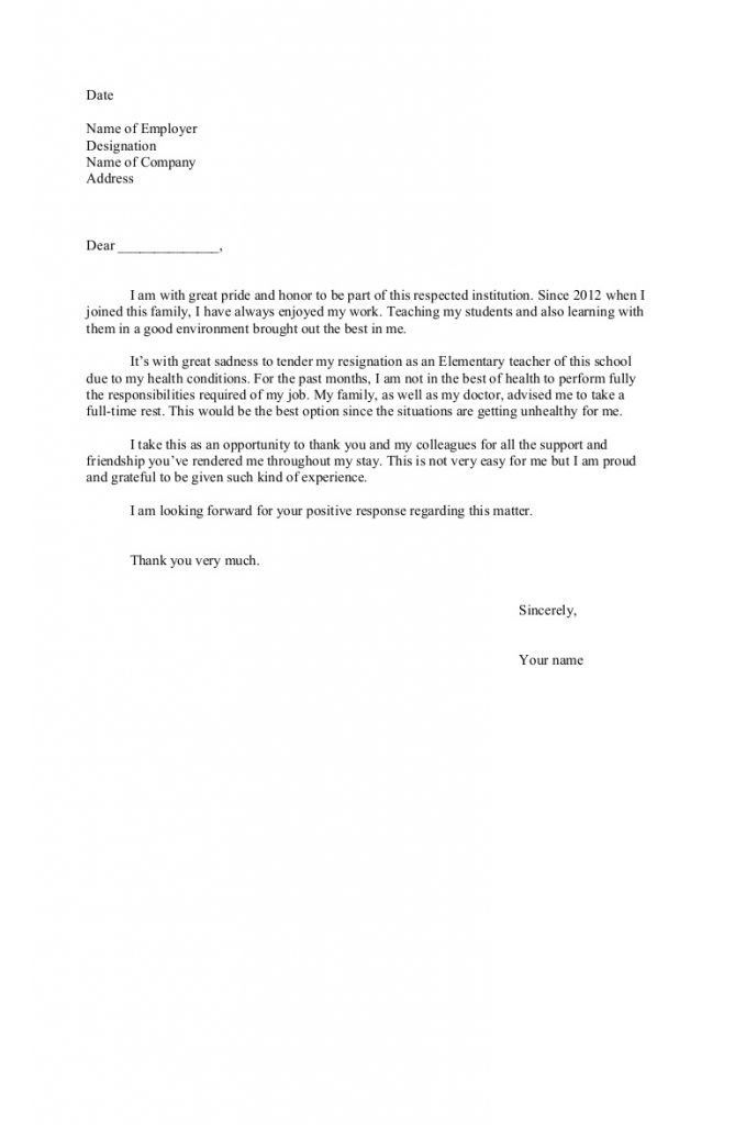 Resignation Letter : Letter Of Resignation From Teaching Position ...