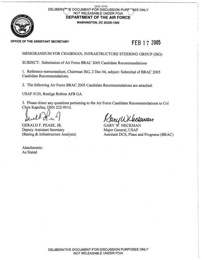 BRAC Transmittal Memo USAF 0120 433 - Digital Library