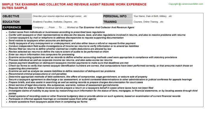 Tax Examiner And Collector And Revenue Agent Resume Sample