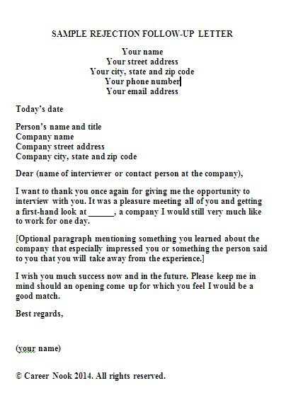 Sample Follow-up Rejection Letter sample rejection follow-up ...
