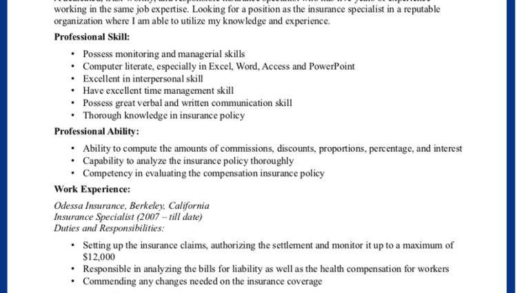 Insurance Agent Resume Examples sample insurance agent resume ...