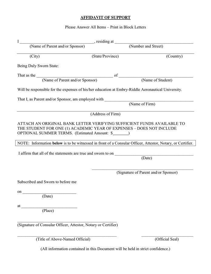 student affidavit of support sample letter   Mytemplate.co