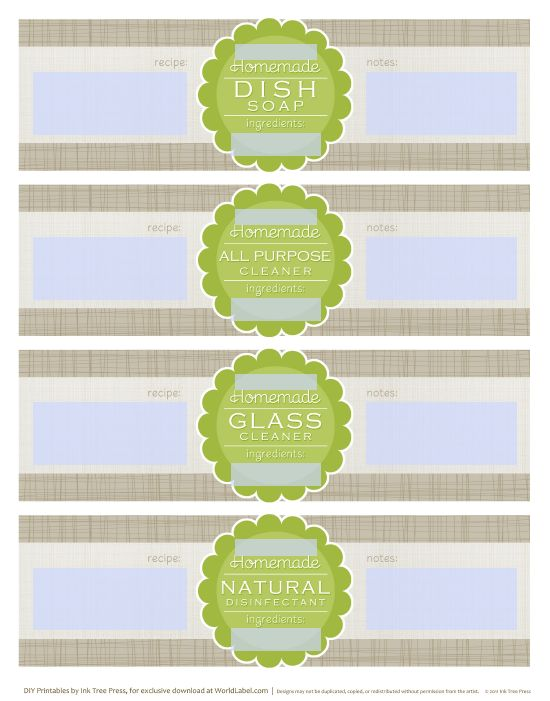 DIY homemade clean free label printables and recipes | Worldlabel Blog