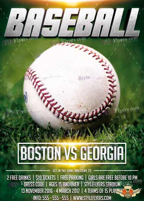 Baseball league psd v11 flyer template
