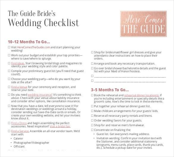 Wedding List Template - 10+ Free Word, PDF Documents Download ...