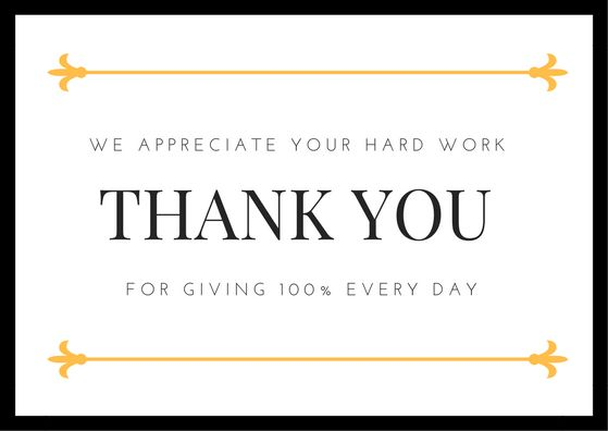 Employee Appreciation Thank You Notes | Thank You Note Wording