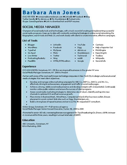 Download Social Media Manager Resume Sample | haadyaooverbayresort.com