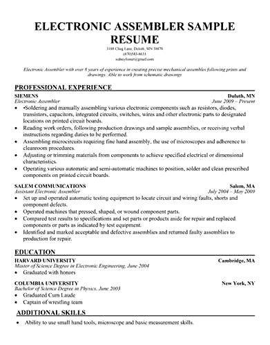 10 Assembler Job Description For Resume Resume assembly resume ...