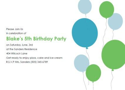 5th Kids Birthday Party Invitations Template | Free Invitations Ideas