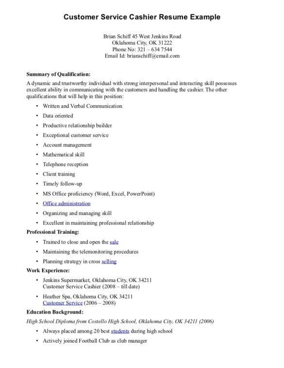 Interesting Customer Service Cashier Resume Example with ...