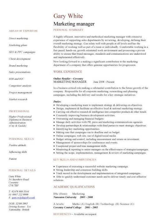 Marketing Manager Resumes Examples. marketing resume entry level ...