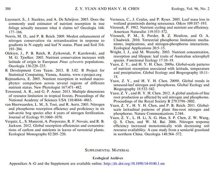 Appendix Instructions - ESA's Ecological Archives