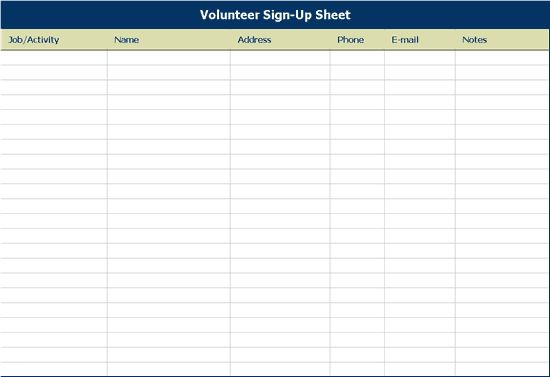 volunteer sign up template