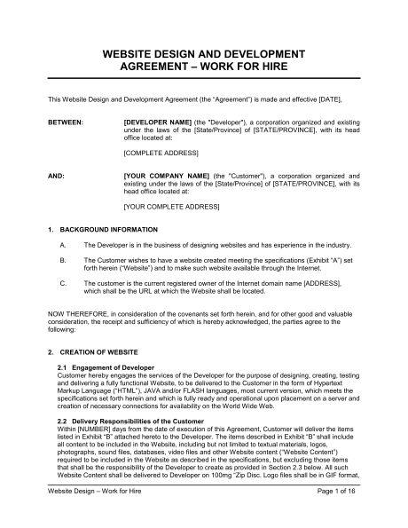 Website Design Agreement - Template & Sample Form | Biztree.com