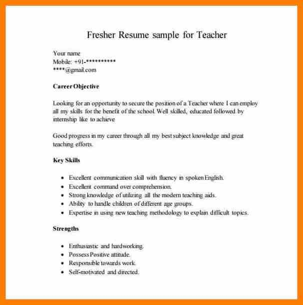 Format For Teacher Resume - cv01.billybullock.us