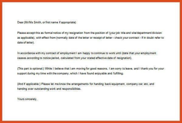 formal resignation letter | moa format