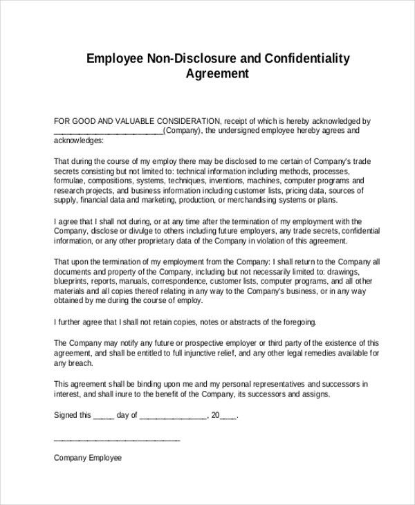 Confidentiality Agreement Form. Employee Non-Disclosure And ...
