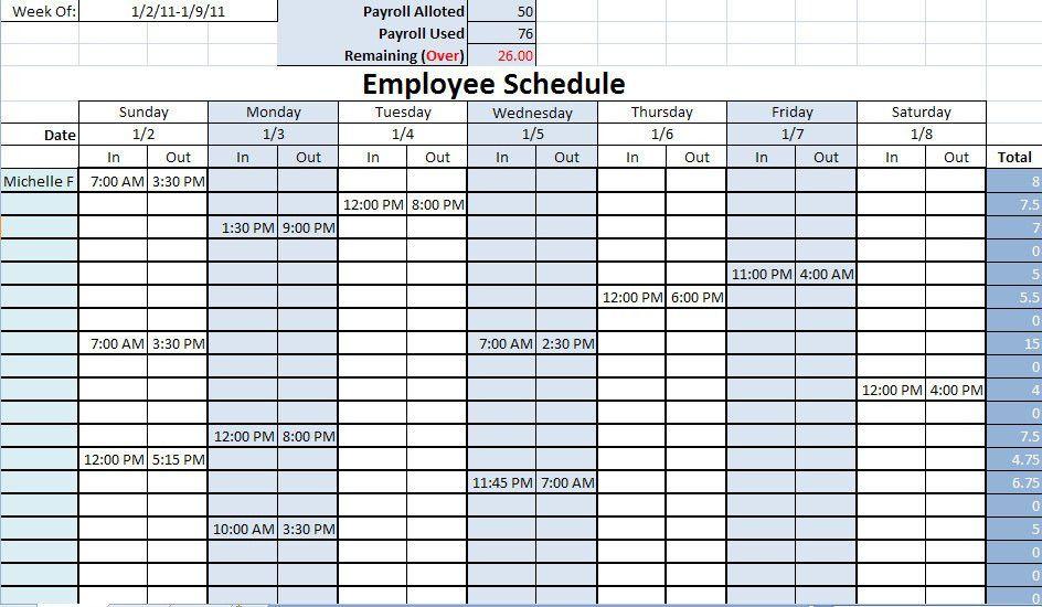 Printable Work Schedule | Printable Work Schedules