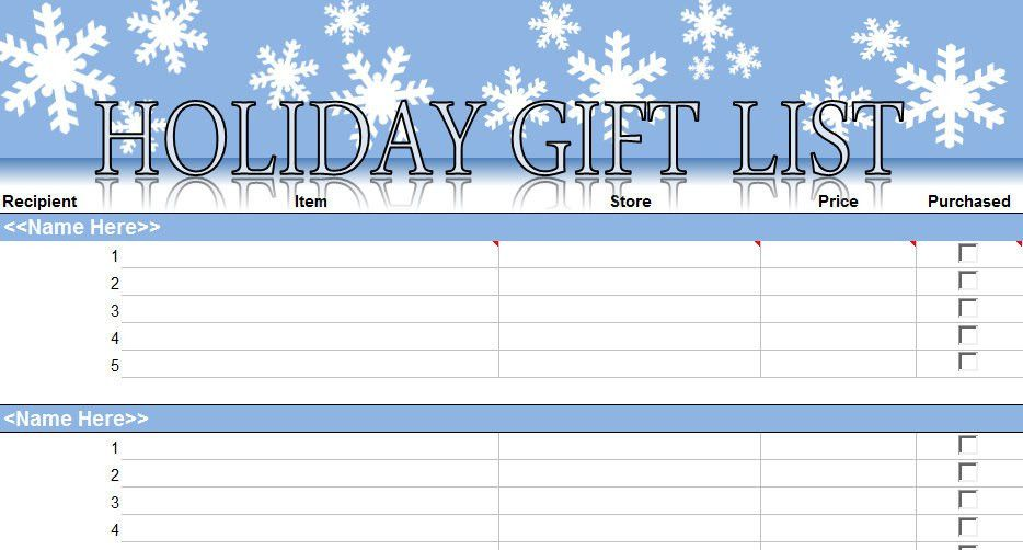 printable christmas shopping list Archives - My Excel Templates