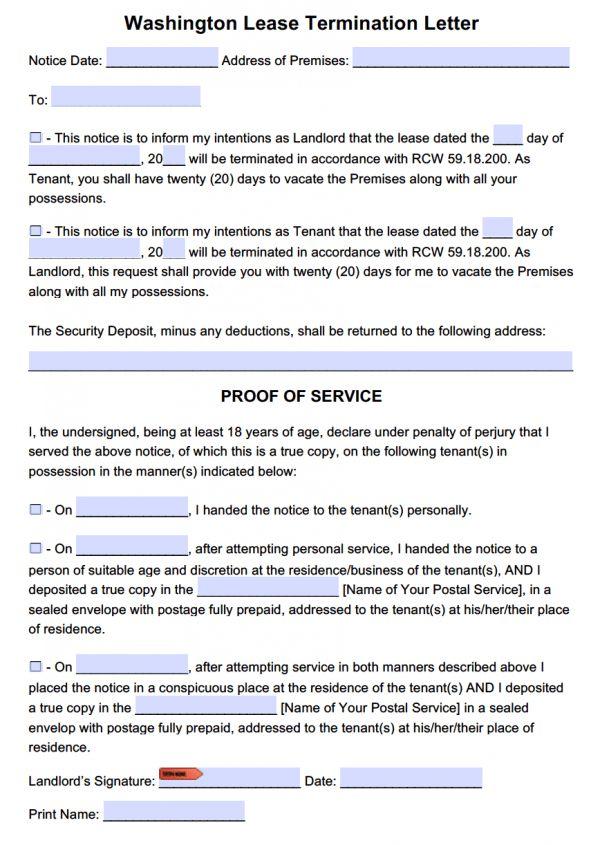 Free Washington 20 Day Lease Termination Letter Template   PDF