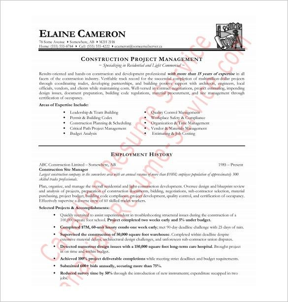 Resume For Construction 19 Professional Worker Sample ...
