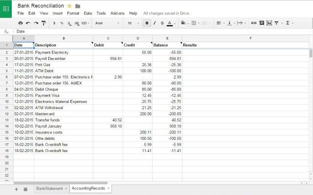 Bank Reconciliation - Google Sheets add-on