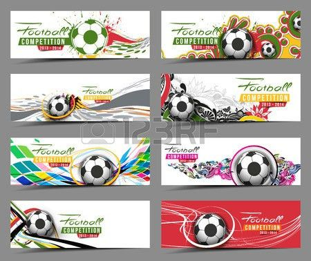 Set Of Football Event Banner Header Ad Template Design. Royalty ...