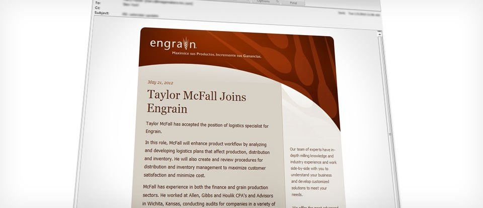 Constant Contact email template design for Engrain - Imagemakers ...