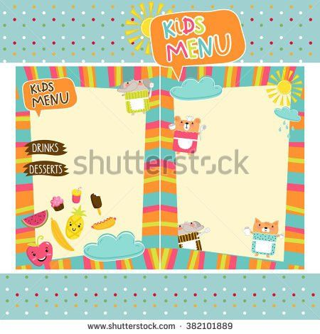 Kids Menu Template Design Stock Vector 382101889 - Shutterstock