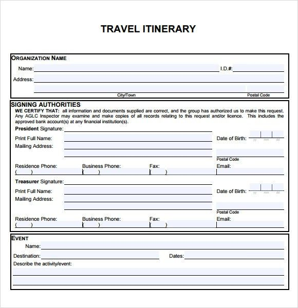 Itinerary Calendar Template
