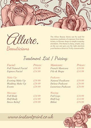 A3 flyer design - Allure Price List (available to personalise on ...