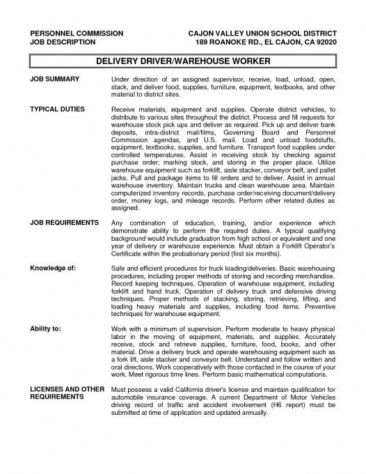 24 Cover Letter Template For Job Description Delivery Driver 21 ...
