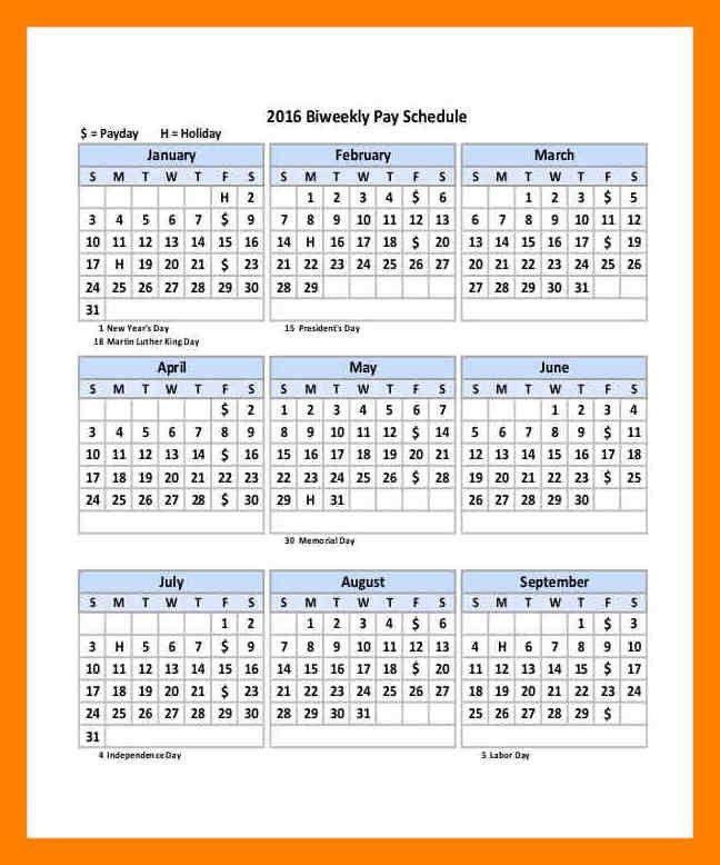 9+ 2017 biweekly payroll calendar template   aplication format