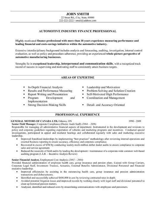 automotive finance manager resume professional auto finance