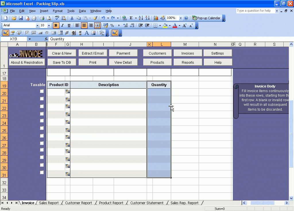 Creating a Packing Slip Template or Packing List Template - Excel ...