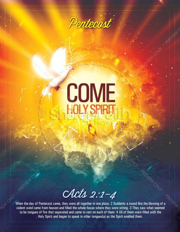 Pentecost Come Holy Spirit Religious Flyer Template | Flyer Templates