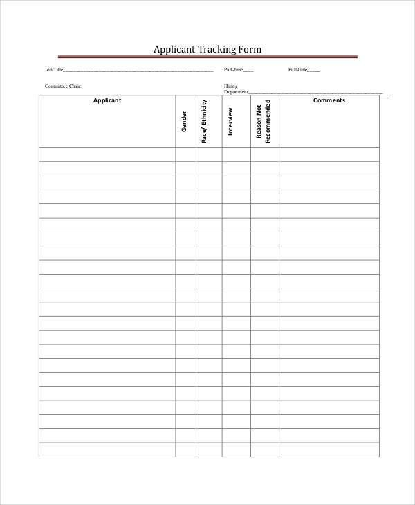 Tracking Form Examples
