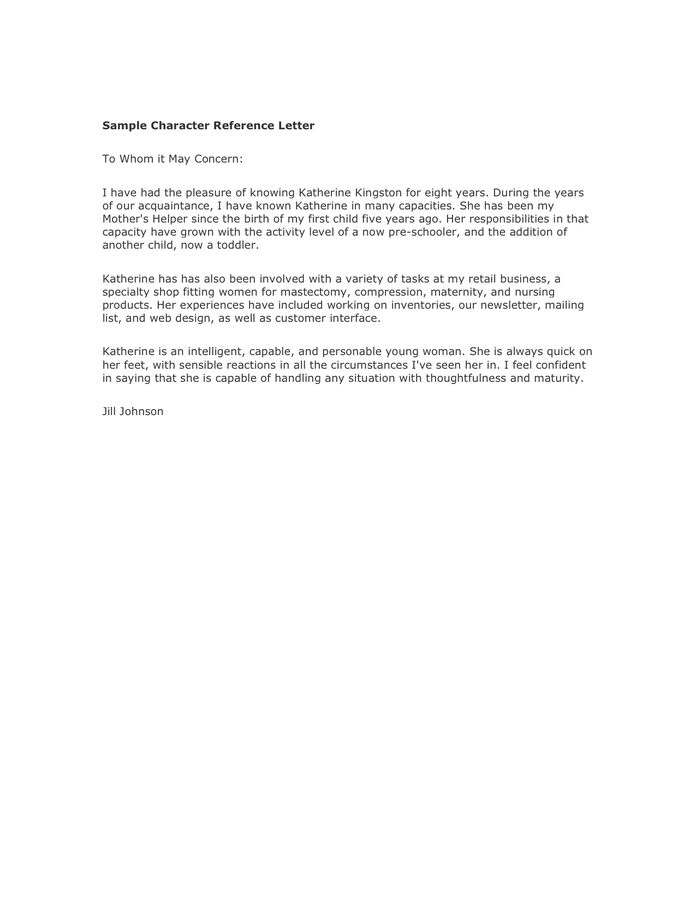 Character Reference Letter Professor - Huanyii.com