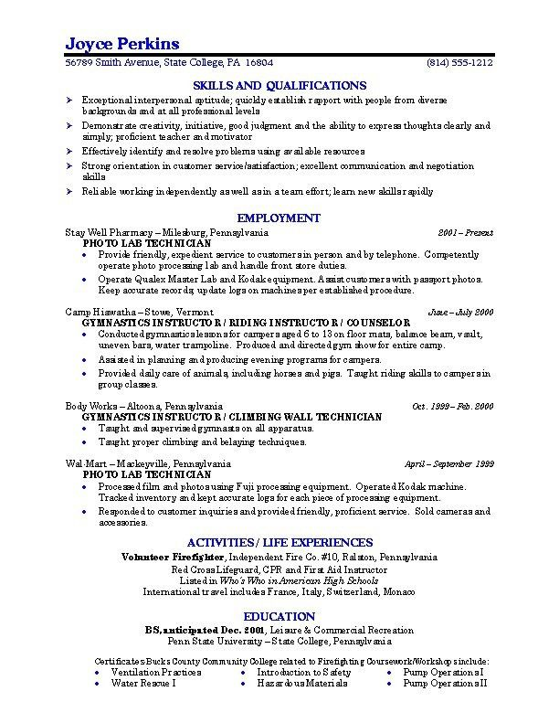 Resume Template For Recent College Graduate. College Student ...