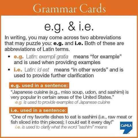 """Difference Between """"e.g."""" and """"i.e"""" 
