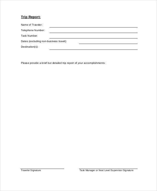 6+ Trip Report Examples, Samples