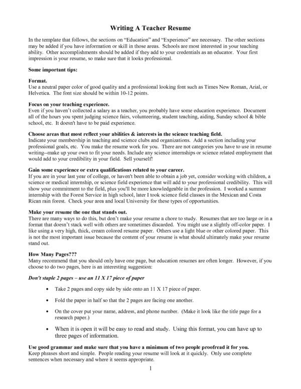 Creative Guide to Writing A Teacher Resume for a First Year ...